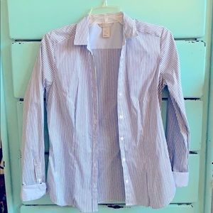 Button Up Long Sleeve Striped Blouse